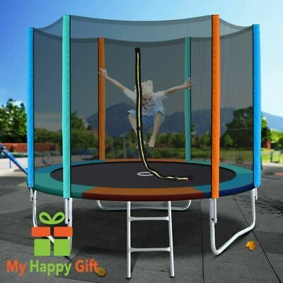 AU251.82 • Buy Kids 8FT Round EVERFIT Trampoline Ladder Multicoloured Padding Safety Net