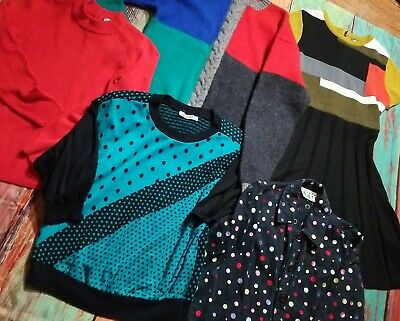 AU35.71 • Buy Vintage Clothing Lot Sweater Dress Jacket 70s 80s 90s Polka Dot Color Block Cute