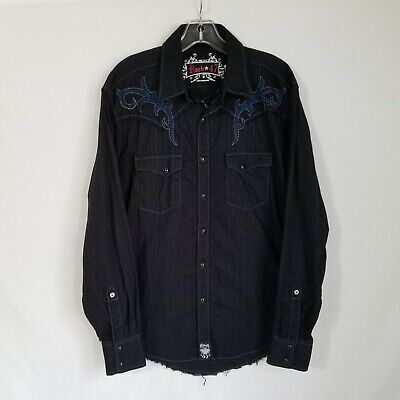 $27.99 • Buy Wrangler Rock 47 Mens Embroidered Pearl Button Front Western Shirt Medium S424