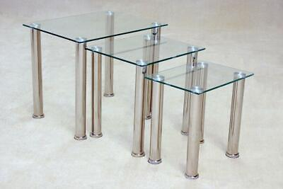 Nest Of Tables Clear Glass Chrome Three Piece Lamp Side End Coffee Table Set • 79.99£
