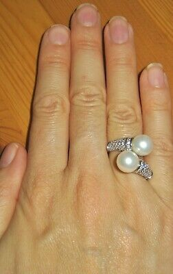 $ CDN59.83 • Buy Tova Diamonique Double Pearl Sterling Silver Ring Extra Large Size S Usa 9 Qvc