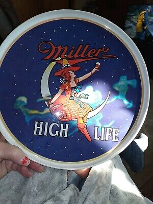 $50 • Buy Vintage Miller High Life Beer Girl And Moon Plastic Serving Tray.
