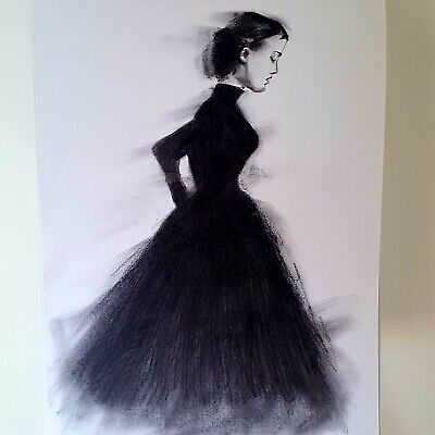 £22 • Buy A3 Size Woman In Black Charcoal Artwork Original Drawing On White Paper