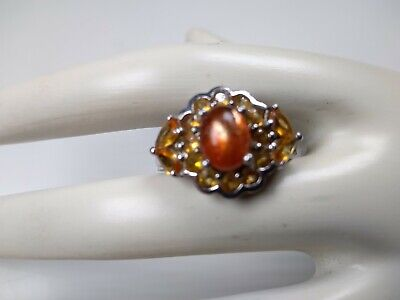 £57.53 • Buy Mexican Fire Opal Ring Sterling Silver 925 / Round-Cut / Unique Flower Size 8