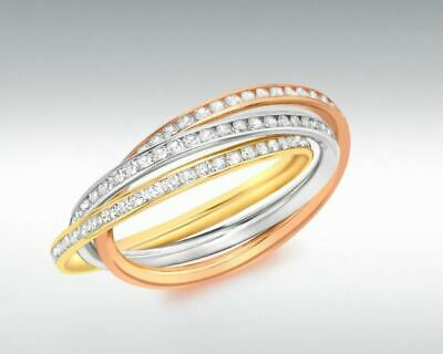 AU425.78 • Buy 9ct 3 Colour Gold 2mm Stone Set Russian Wedding Ring. Sizes From F-Z