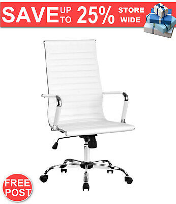 AU100.49 • Buy Artiss Gaming Office Chair Computer Desk Chairs Home Work Study White High Back