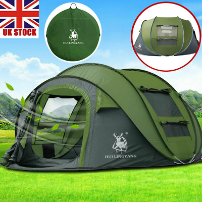 £83 • Buy 3~4Person Man Family Tent Instant Pop Up Tent Breathable Outdoor Camping Green