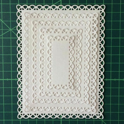£3.69 • Buy 5pcs Lace Rectangle Frame Metal Cutting Die Embossing Scrapbooking Stencil Craft