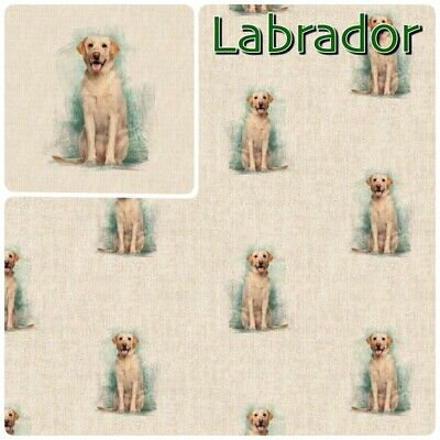 £5.99 • Buy Labrador Dog Fabric Linen Look Cotton-Rich And Matching Cushion Panel