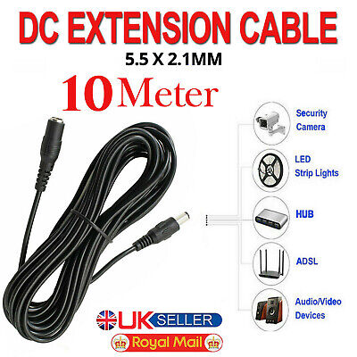 £6.99 • Buy DC Power Supply Extension Cable 12V For CCTV Camera/DVR/PSU Lead 10 Meter