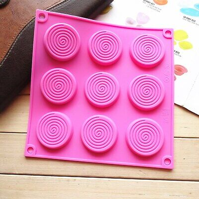 £3.15 • Buy 9 Swirl Lollipops Silicone Mould Chocolate Fondant Jelly Ice Cube Candy Wax Mold