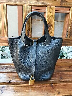 AU4995 • Buy 🖤 Hermes Picotin 18 Lock Noir (black) Clemence Leather With Gold Hardware 🖤