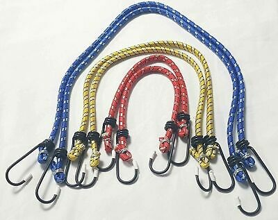 £1.99 • Buy 3 X BUNGEE STRAPS CORDS SET WITH HOOKS CAR BIKE LUGGAGE ELASTICATED ROPE CORD
