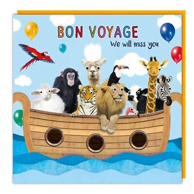 £2.99 • Buy Leaving Card Bon Voyage We Will Miss You Goggly Eyes & Fluff Funny Animals Card