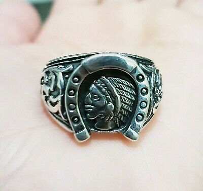 £46 • Buy Indian Head Horse Shoe Ring, 925 Sterling Silver Ring, Gothic , Biker