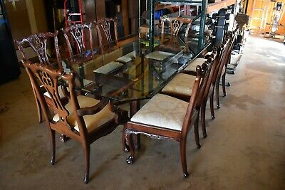 $900 • Buy Beautiful Carved Detailed Mahogany Glass Top Dining Set 8 Chairs - Thomasville??