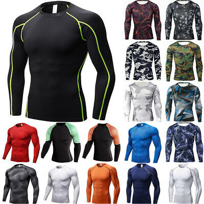 £12.69 • Buy Men's Compression Base-Layer Cool Dry Shirt Fitness Sports Gym Long-Sleeve Tops