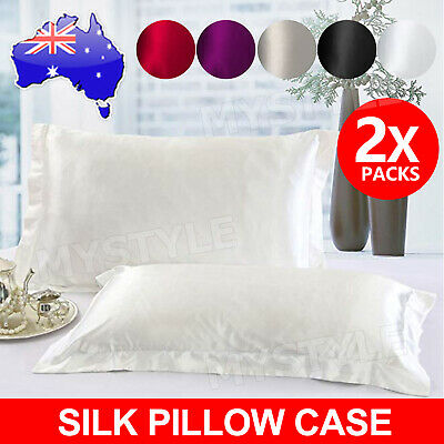 AU10.95 • Buy 2in1 Silk Satin Pillow Cases Cover Solid Standard Bedding Smooth Soft PillowCase