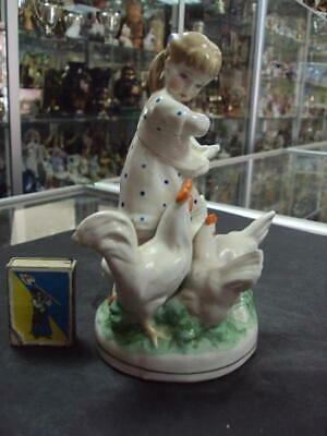 $ CDN183.72 • Buy Girl With Chickens Birds Poultry Dulevo USSR Vintage Porcelain Figurine  3401u