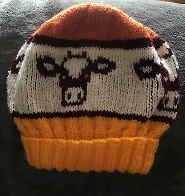 £15 • Buy Unisex Adult Hand Knitted Beanie Hat Cows In Yellow Orange Dk Red & Cream