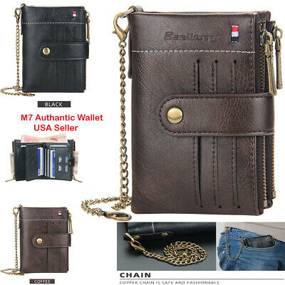 $ CDN19.42 • Buy Men Men's Leather Wallet With Chain ID Sim Credit Card Holder Double Zipper Coin