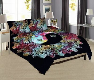 £20.36 • Buy Multi Color Yin Yang Bedding Queen Size Duvet Cover With Two Pillow Cover Hippee