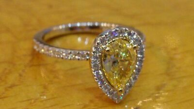 Yellow 2.75 Ct Pear Cut Canary Diamond 925 Sterling Silver Halo Engagement Ring • 111£