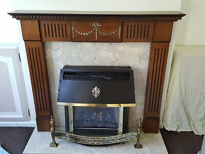 £40 • Buy Wooden Fire Surround, With Composite Stone Back Panel And Hearth