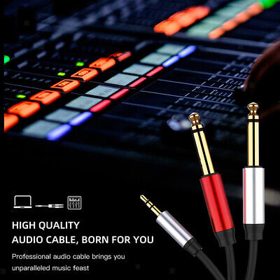 £4.80 • Buy Stereo 1/8  Mini Jack To Dual 1/4  Cable Smartphones 3.5mm To Mixer 6.35mm Cord