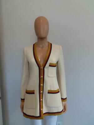 AU1027.60 • Buy Gucci Ivory Blazer/Jacket Gold Green Red Web Trim Gold Buttons Size 36/US 0