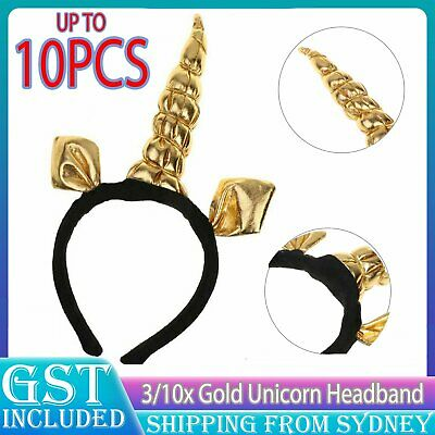 AU14.99 • Buy UP 10x Gold Unicorn Headband Fancy Dress Festival Fun Accessory Adult Kids Party