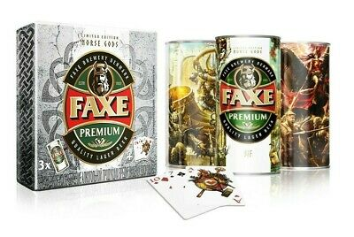 $ CDN48.36 • Buy EMPTY CANS FAXE Beer Cans Gift Set Norse Gods 3 Pcs 900ml. + Poker Cards NEW