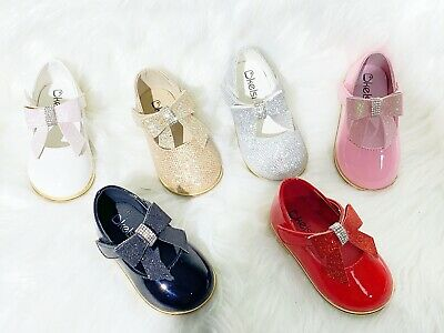 £12.99 • Buy New Kids Infants Baby Girls Wedding Bridal Party Flat Bow Shoes Toddler Shoes