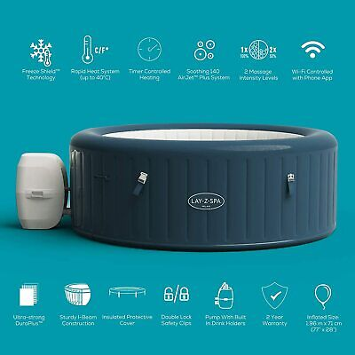 2021 Model Lay Z Spa Milan 6 Person WiFi Controlled Hot Tub - With Extended Warr • 765£