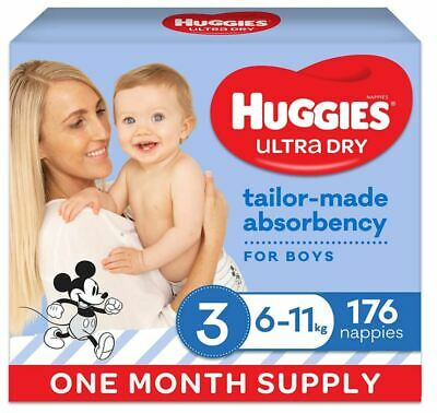 AU64.50 • Buy HUGGIES Ultra-Dry Nappies Boys Size 3 One-Month Supply 176 Count Crawler 6-11kg