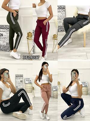 £8.99 • Buy Ladies Womens Combat Trousers Cargo Jogging Bottoms Stripe Pockets Slim Joggers