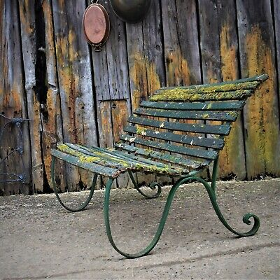 Antique Green Garden Bench Wrought Iron Victorian Weathered Wooden Patina Seat  • 395£