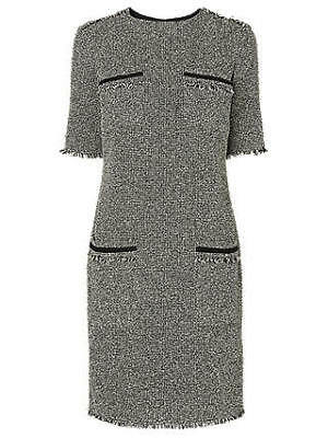AU89.32 • Buy Lk Bennett Darya Black & Cream Tweed Short Sleeved Shift Dress Size 14 Cost £225