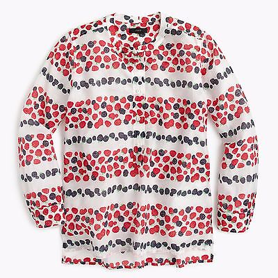 £43.57 • Buy NWT J.Crew SZ 8 Cotton-silk Voile Popover Shirt In Berry Print