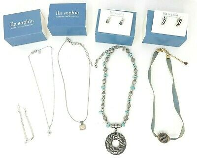 $ CDN37.65 • Buy Lia Sophia Chico's J. Jill Necklace Earrings Extender Lot Of 7 Silver Gold Tone