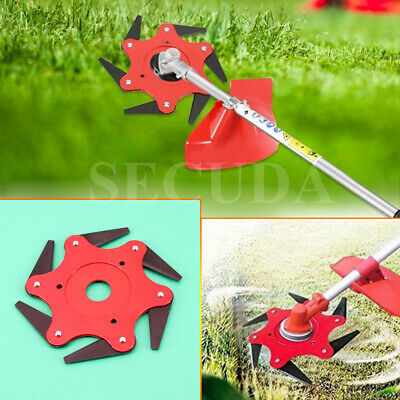 AU26.49 • Buy Outdoor 6 Steel Trimmer Head Blades Razors 65Mn Lawn Mower Grass Weed Cutter Red