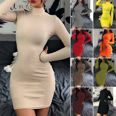 AU20.13 • Buy Women High Neck Slim Bodycon Dress Mini Long Sleeve Party Jumper Sweater Dresses