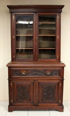AU1900 • Buy Antique Bookcase  With Secretaire Drawer Cabinet Circa 1890 Adjust Shelves