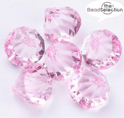 £3.59 • Buy FACETED PEARL PINK ACRYLIC DIAMOND PENDANT BEADS TOP DRILLED 15mm ACR188