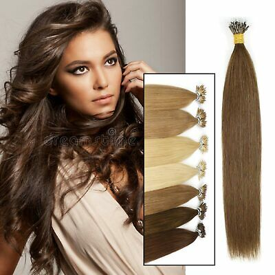 £28.79 • Buy 1G 14 -24  Nano Ring Tip Micro Bead Human Hair Extensions Straight Prominent