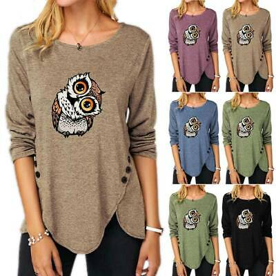 £15.99 • Buy Womens Casual Loose Owl Printed Long Sleeve T-Shirt Buttons Basic Tops Plus Size
