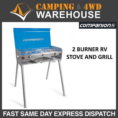 AU119.99 • Buy Companion Rv 2 Burner Gas Stove And Grill With Legs Camping Cooking Comp546