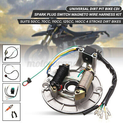 $24.89 • Buy For 50-125cc Kick Stator Dirt Pit Bike Wire Harness Wiring Loom CDI Coil Set US