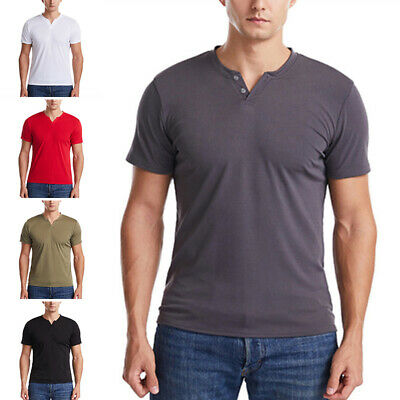 £10.59 • Buy UK Mens Short Sleeve V Neck Tops T Shirt Casual Solid Slim Fit Muscle Tee Tunic