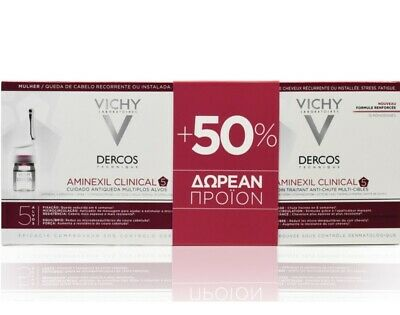 £56.45 • Buy Vichy Dercos Technique Aminexil Clinical 5 Women Offer Package 21&12 Vials